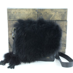 leather purse jeanne black fine raccoon
