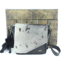 jeanne purses black leather seal skin natural