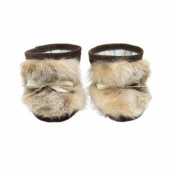 Lynx fur baby booties with brown suede