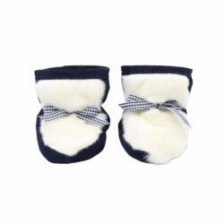 Best baby shoes in dark blue suede with white rabbit fur