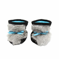 baby boots with grey rabbit fur and black suede