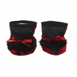 baby moccasins with red suede and black rabbit fur