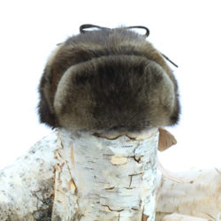 all fur natural muskrat trapper hat