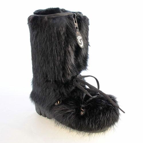 bottes en fourrure de castor noir pour femme