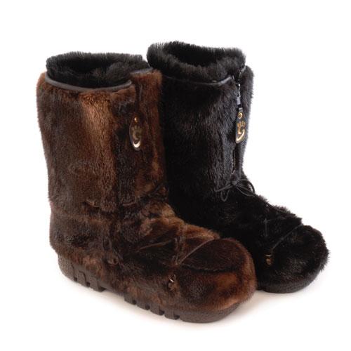 bottes d'hiver en fourrure de loutre pour femmes