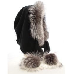 pompom Silver fox hood