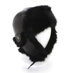 kids hats chapeau aviateur lapin et cuir noirs