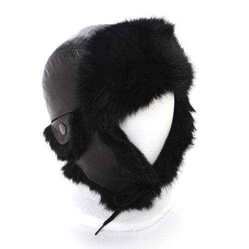 chapeau aviateur lapin et cuir noirs