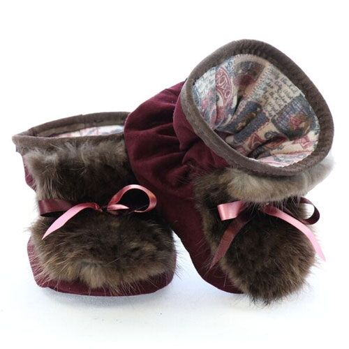 chaussons pour bébés pattes d'ours bourgogne