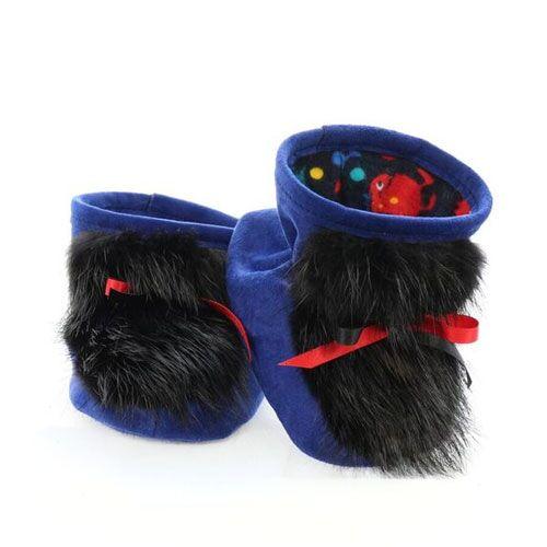 chaussons pour bébés pattes d'ours suède bleu royal