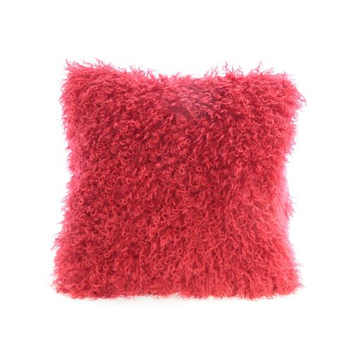 coussin en peau de mouton de mongolie rouge 14x14