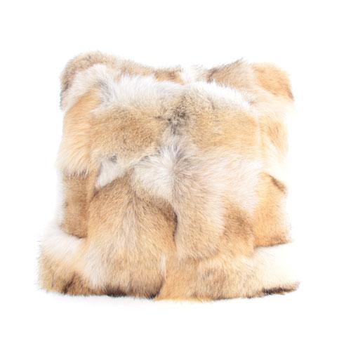 coussin en fourrure de coyote et cuir 14x14