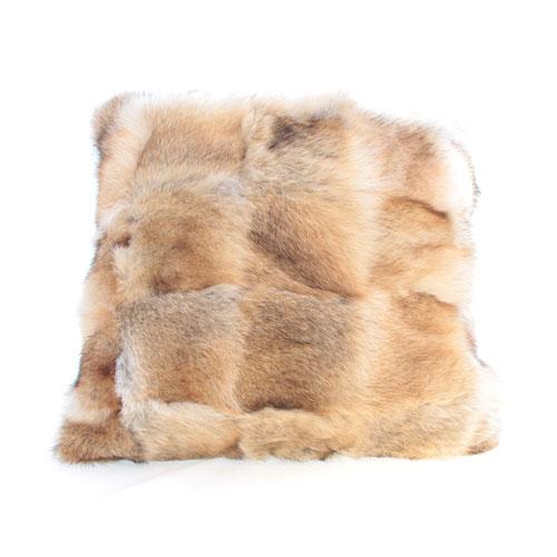 coussin en fourrure de coyote et cuir morceaux 18x18 fg. Black Bedroom Furniture Sets. Home Design Ideas
