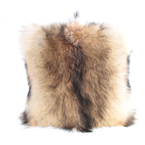coussin en fourrure de coyote et cuir 18x18