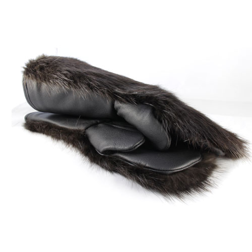mitaines de motoneige en fourrure de castor naturel