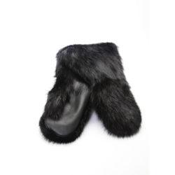 mitaine fourrure castor noir luxe