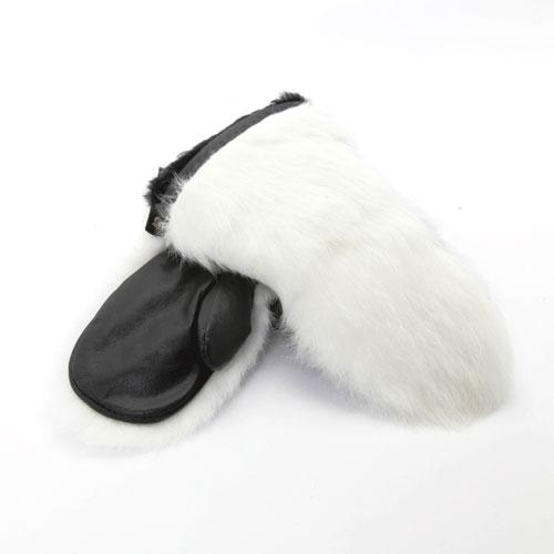 mitaines en fourrure de lapin blanc
