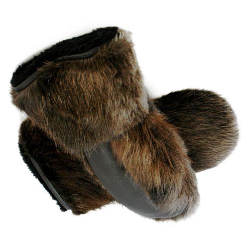 mitaines en fourrure de castor naturel de luxe