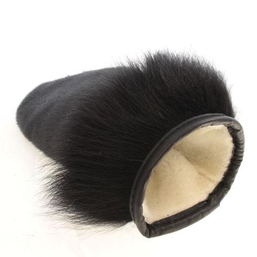 mitaines en loup marin noir de ville, chat sauvage noir et cuir noir poignet