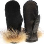 mitaines en loup marin noir de ville, coyote et cuir noir paire