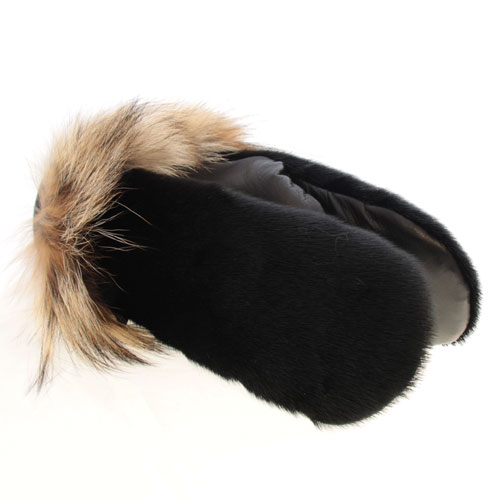 mitaines en loup marin noir de ville, coyote et cuir noir paire (2)