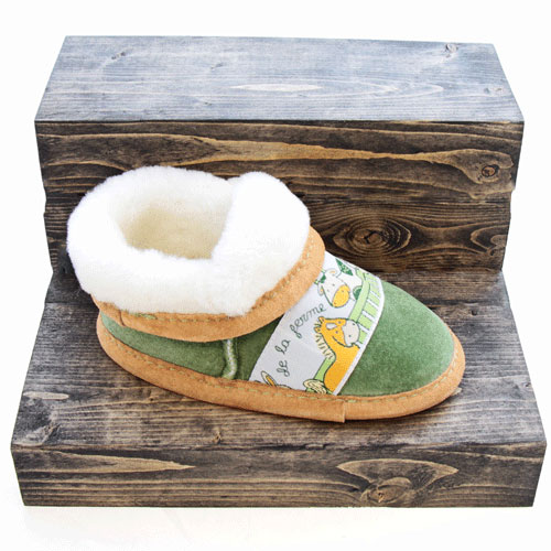 9f596634f2f Childrens slippers - Farm ribbon and suede - Made in Quebec l FG